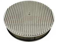 "CHEVY/FORD/MOPAR 14"" ROUND POLISHED ALUMINUM AIR CLEANER - RETRO FINNED recessed"