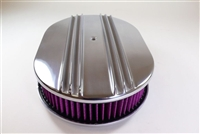 15 inch Polished Aluminum Oval Air Cleaner Half Finned nostalgia chevy ford washable