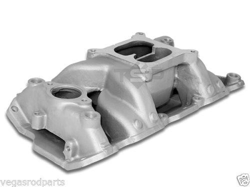 55 95 Small Block Chevy Dual Plane Aluminum Intake Air Gap