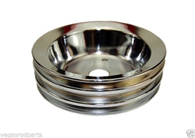 Triple Groove Crankshaft Pulley small block chevy chrome steel