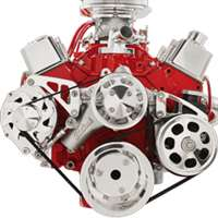 Small Block Chevy Mid Mount Alternator & Power Steering serpentine Kit Billet Aluminum