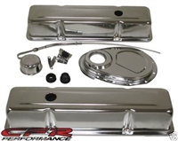 Small Block 350 Chevy Chrome steel Dress up Kit TALL valve cover chevrolet