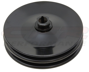 "Black steel GM Chevy Chevrolet Power Steering Pulley 2 double groove 1/8"" key"