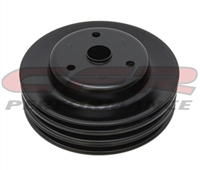 Small Block Chevy Black steel Crank Pulley long triple groove chevrolte 3 lower