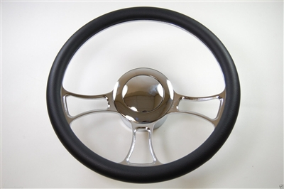 "Chrome Aluminum Steering Wheel 14"" Trinity"