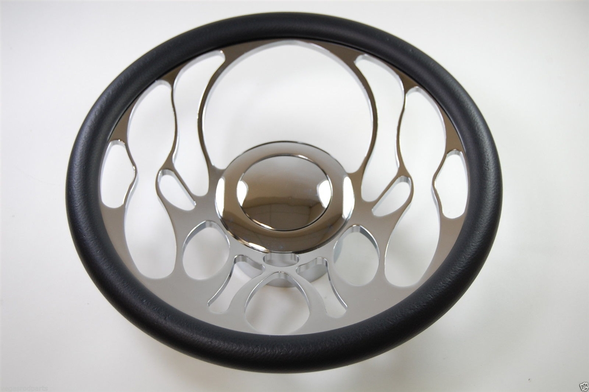 Chrome Aluminum Steering Wheel FLAME STYLE 14\