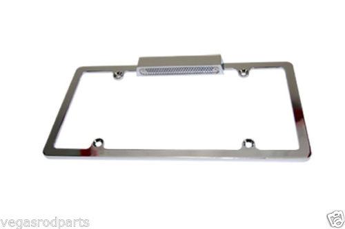 Chrome License Plate Frame Universal billet aluminum lighted