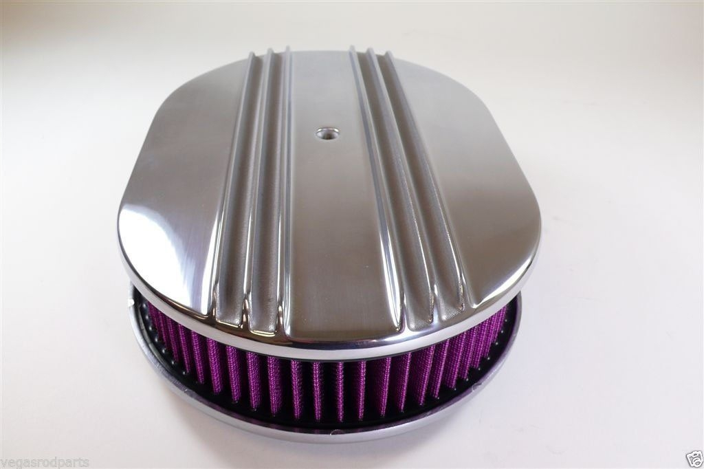 12 Inch Polished Aluminum Oval Air Cleaner Half Finned