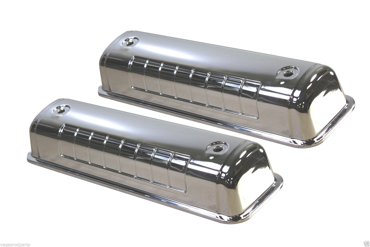 Chrome steel Valve Covers 5241 Ford Y-Block V8 272 312 engines 1954 ...
