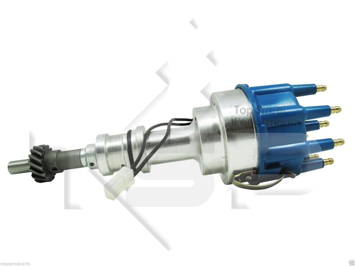 TSP Pro Billet Distributor - FORD 351C 429 460 CLEVELAND V8-Blue Cap